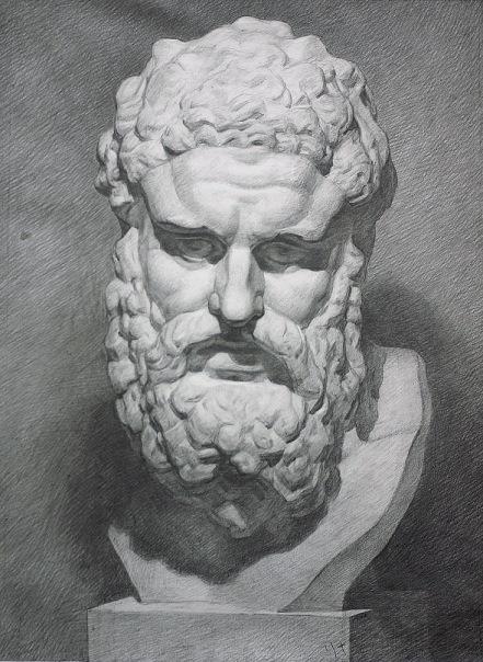 Фото Академический рисунок, графика, гипсовая голова, на заказ